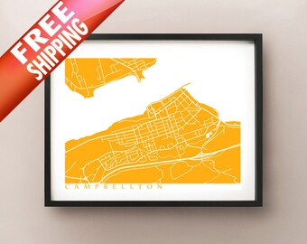 Campbellton Map - New Brunswick Art Poster