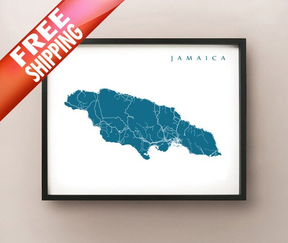 Jamaica Map Print Jamaica Poster | Etsy