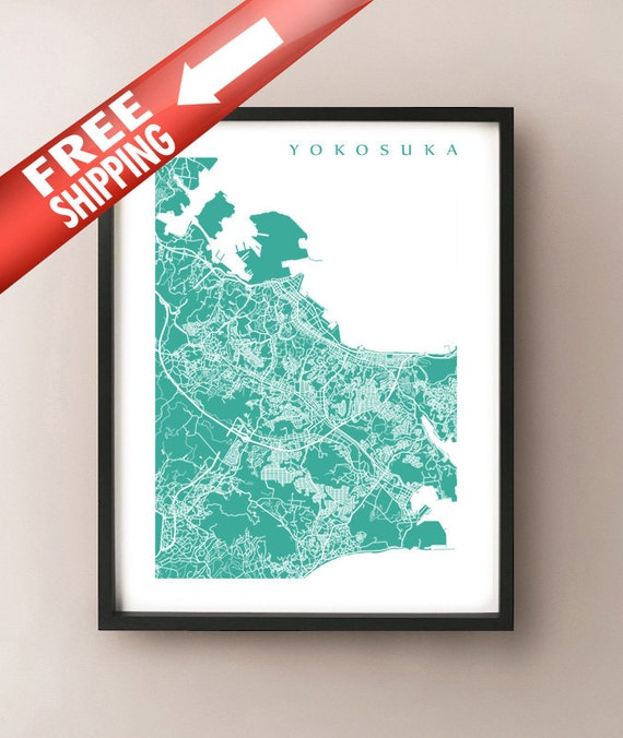 Yokosuka Map Print Japan Art Poster 横須賀市 Etsy
