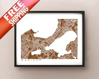 Madison Map Art - Wisconsin Poster Print