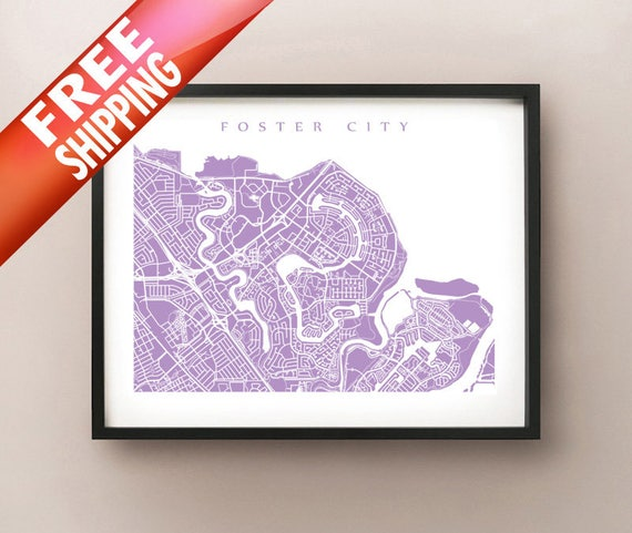 Foster City, CA Map - Bay Area, California Poster Print