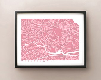 Watertown Map Print - Massachusetts Poster