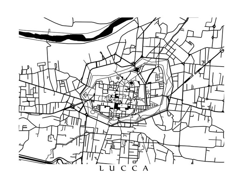 Lucca Map Print Italy Art Poster