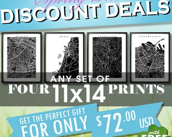 """Four 11x14 Prints for 72 usd - Spring SALE - Choose any four 11"""" x 14"""" - Multiple Order Discount - Map Art Decor"""
