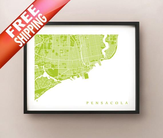 Pensacola Map Print Downtown Pensacola Florida Poster Etsy
