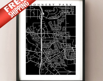 Rohnert Park Map Print - Rohnert Park & Cotati, CA Poster