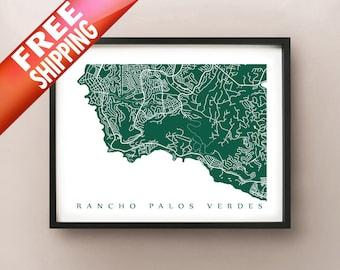 Rancho Palos Verdes Map Print - California Art Poster