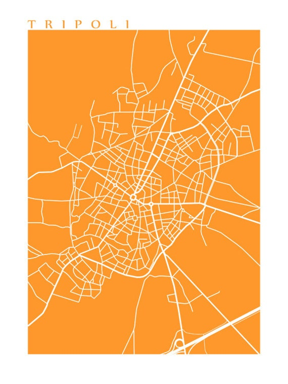 Tripoli Greece Map Print Art Poster Etsy