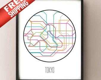 Tokyo, Japan - Minimalist Metro Subway Art Print - 東京メトロ