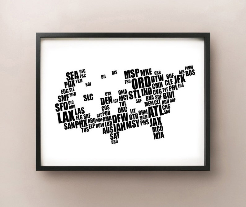 United States Airport Code Typography Map Etsy