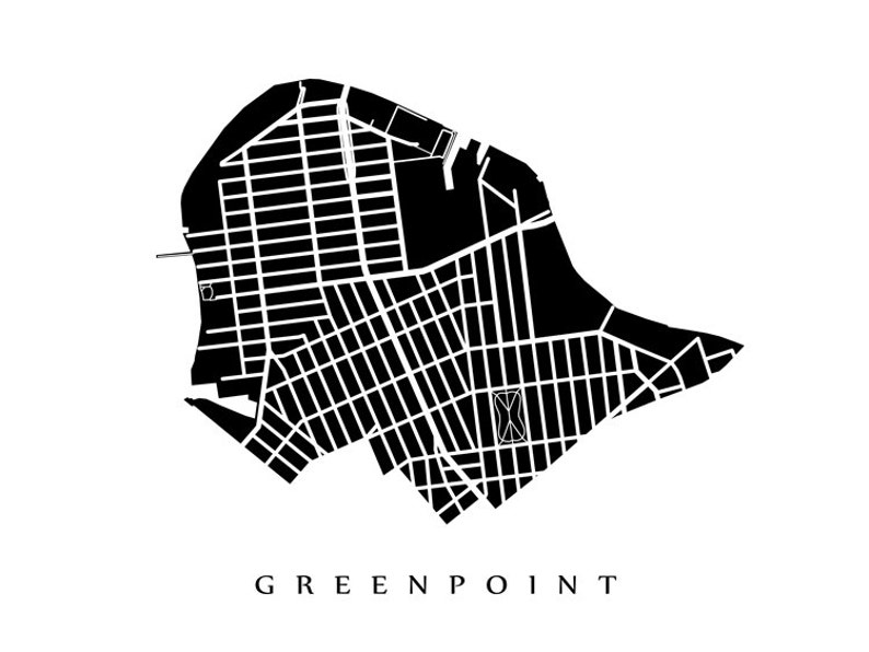 Greenpoint Map NYC Neighborhood Art Print Brooklyn