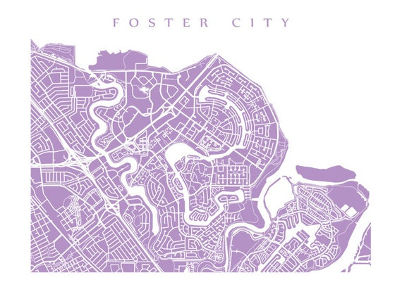 Foster City CA Map Bay Area California Poster Print   Etsy