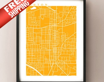 Denton, TX Map Print - Texas Poster