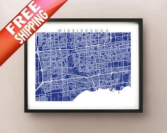 Mississauga Map Print - Ontario, Canada Art Poster