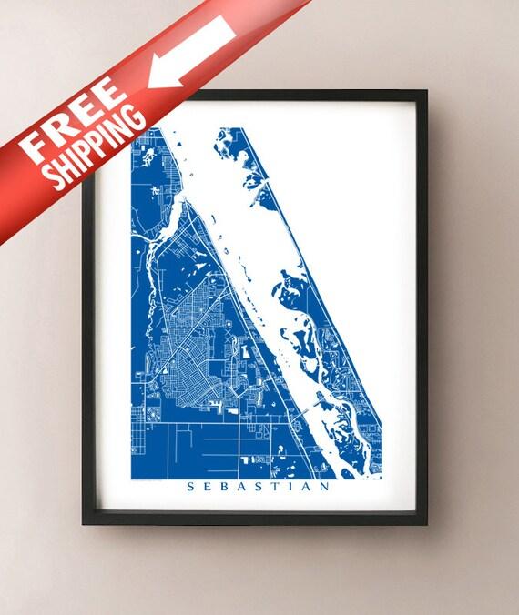 Map Of Sebastian Florida.Sebastian Florida Map Art Poster Print Customize Your Map Etsy