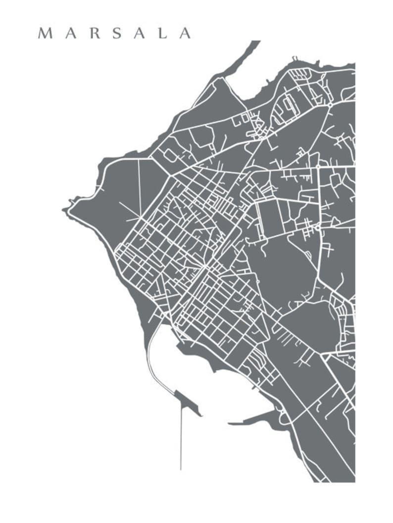 Marsala Sicily Italy Map Print