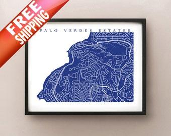 Palos Verdes Estates Map Print - California Art Poster