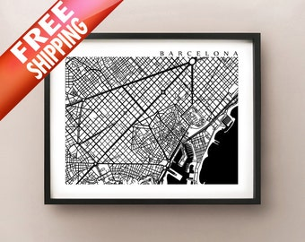 Barcelona Map, Black and White Poster Print