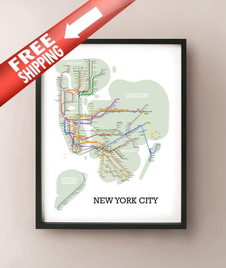 Order Free Nyc Subway Map.New York City Metro Subway Style Map Art Print