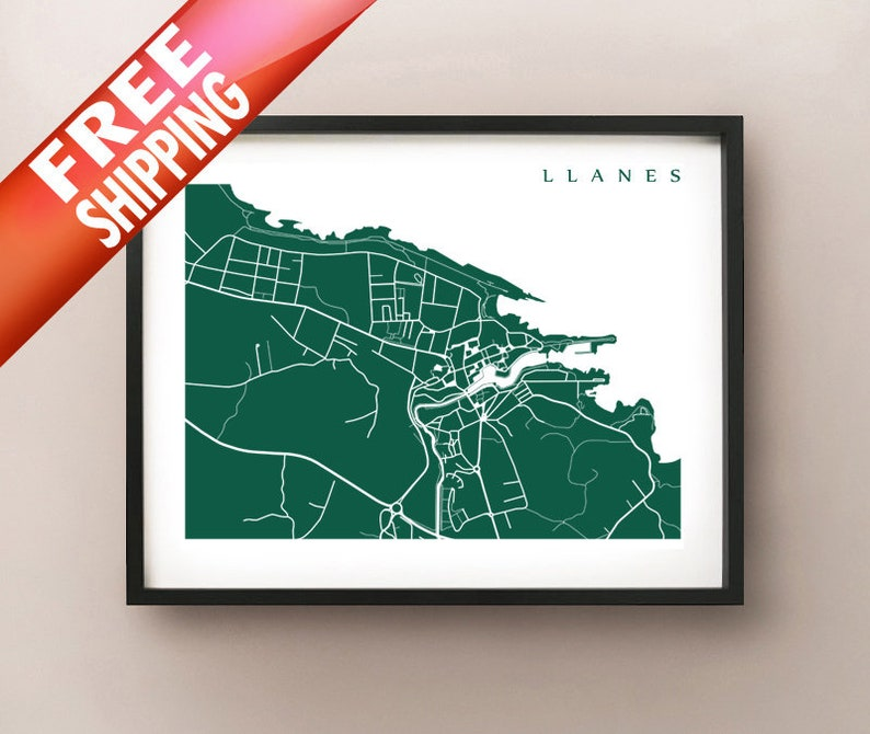 Map Of Spain Over Time.Llanes Map Asturias Spain Art Print