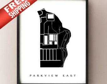 Parkview East Map - Hamilton Neighbourhood Art Print