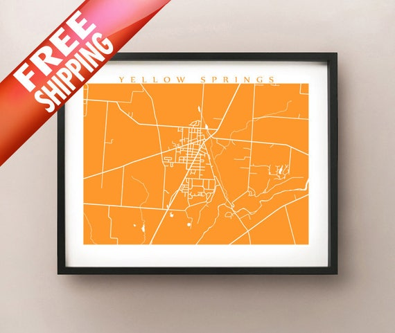Yellow Springs Map Ohio Poster Print Etsy