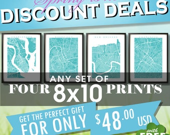 """Four 8x10 Prints for 48 usd - Spring SALE - Choose any four 8"""" x 10"""" - Multiple Order Discount - Map Art Decor"""