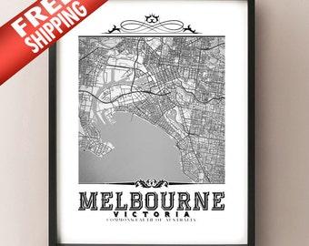 Melbourne Vintage Style Black & White Map Art Print - Melbourne, Australia City Map Decor