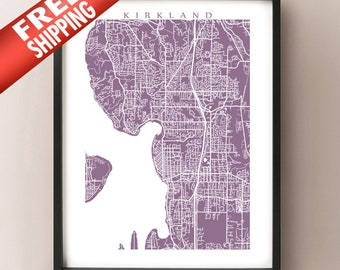 Kirkland Map Print - Washington Poster