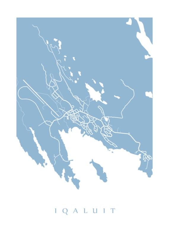Iqaluit Canada Map.Iqaluit Map Print Nunavut Canada Art Poster Choose Colour Etsy