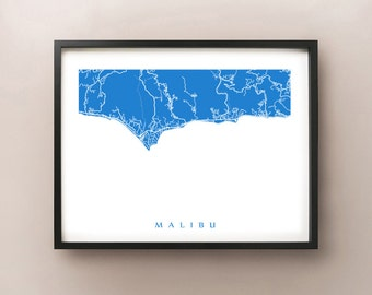Malibu Map Print - California Art Poster