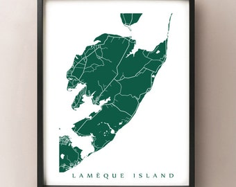 Lamèque Island Map - New Brunswick Art Poster