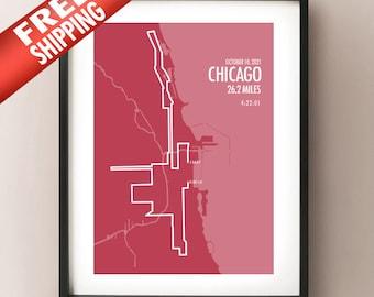 2021 Chicago Marathon Route Map Print