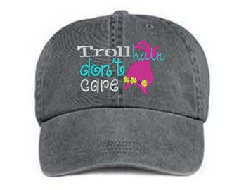 1097df1064e Embroidered Troll Hat  Troll Hair Don t Care Hat  Messy Hair Hat  Troll Hat Pigment  Dyed Troll Hat  Distressed Troll Hat