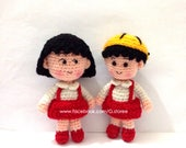 Chibi Maruko Chan Amigurumi pattern - crochet doll pattern , small crochet doll, doll keychain, red clothes with hat doll, two faces version