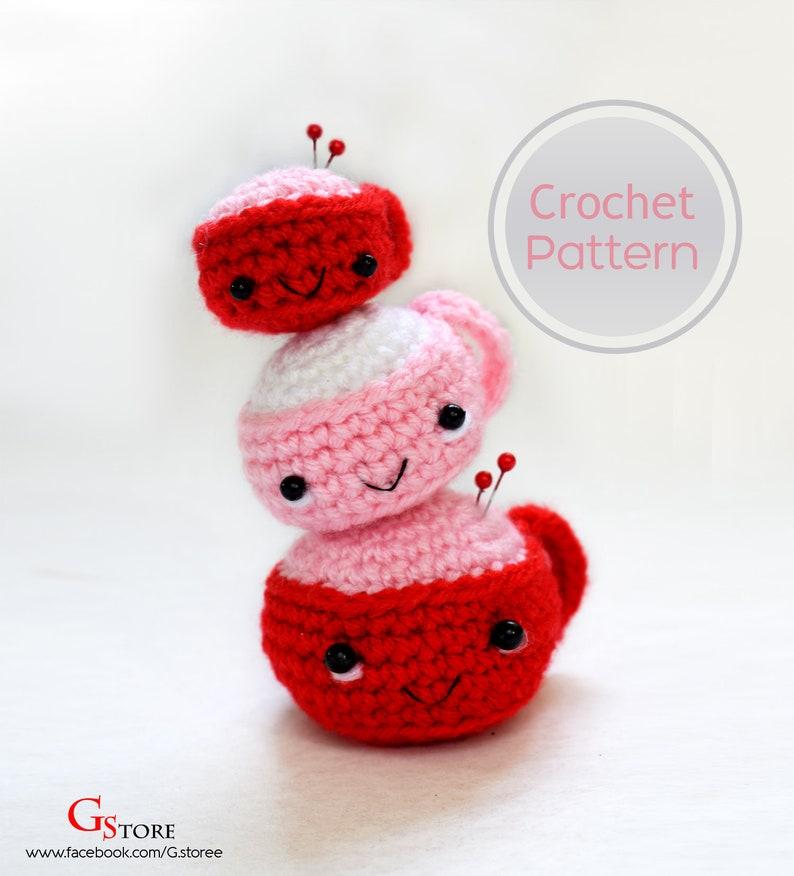 Tea Cup Pin Cushion Aimigurumi Crochet Pattern 3 sizes Milk Juice mug