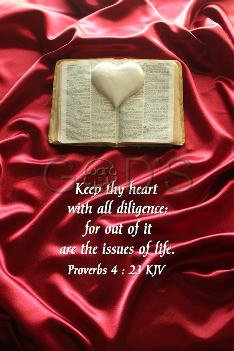 Scripture Picture, Proverbs 4:23, KJV, Item 160, Still Life Photography,  Bible, Cross, Heart, Scripture Photo, Scarlet Cloth, Scripture Art