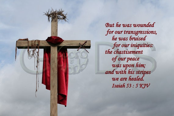 Scripture Picture Isaiah 53:5 KJV Item 156 Cross Crown of | Etsy