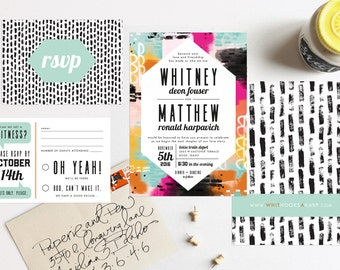 Colorful Abstract Modern Wedding Invitation