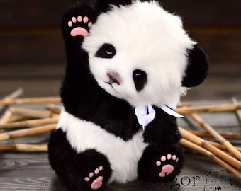 Panda Sue-Jin(made to order) handmade plush collectible stuffed toy teddy  bear faeb1024e678