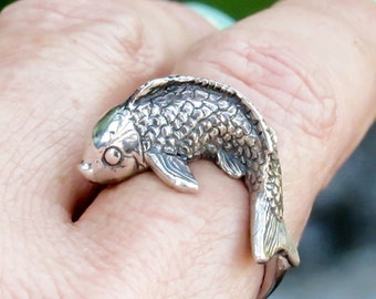 carved Koi fish ring