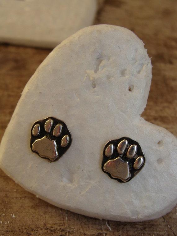 Silver Paw Cavachons: Sterling Silver Lion Paw Print Earrings