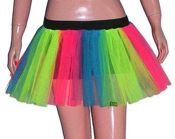 Funki-B printed tutu skirt rave hen night party rainbow net personalised UV