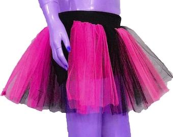 Hot Pink Neon UV Black Stripe Tutu Skirt For Dance Party Ruffled Tulle Skirt adult