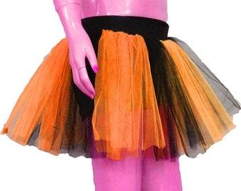 Orange Neon UV Black Stripe Tutu Skirt For Dance Party Ruffled Tulle Skirt adult