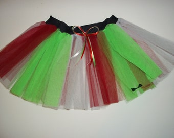 Red Green white  Stripe Tutu Skirt For Dance Party Ruffled Tulle Skirt adult christmas