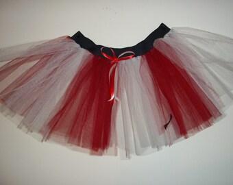 Red White Stripe Tutu Skirt For Dance Party Ruffled Tulle Skirt adult christmas