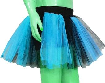 Blue Black Stripe Tutu Skirt For Dance Party Ruffled Tulle Skirt adult