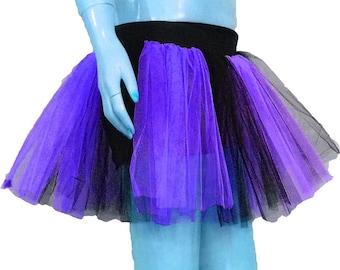 Purple Black Stripe Tutu Skirt For Dance Party Ruffled Tulle Skirt Adult