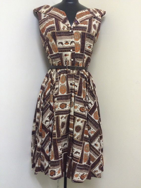 1950s Vintage Tribal Tiki Full Skirt Off Shoulder